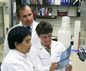 Zen Wu Lin, PhD, Walter A. Koltun, MD, and Lisa S. Poritz, MD, director of colorectal research, review a patient's research data in the IBD BioBank.