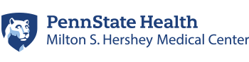The Penn State Health Milton S. Hershey Medical Center logo, with the Penn State Nittany Lion head to the left.