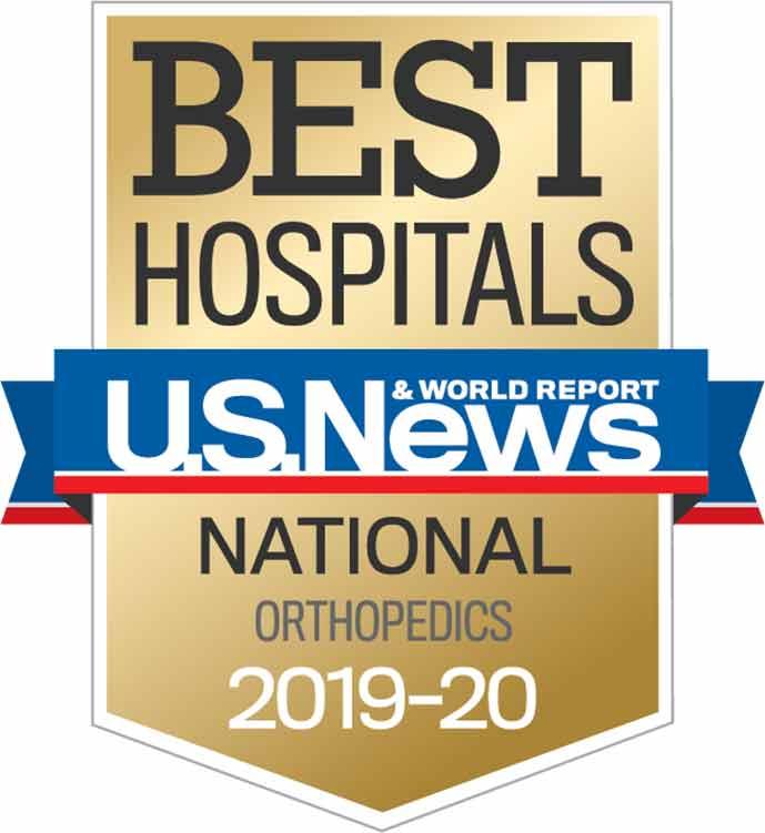 Banner image of U.S. News & World Report Best Hospitals - National Orthopedics 2019-20.