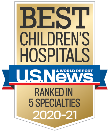 Banner image of U.S. News & World Report Best Children's Hospitals - Ranked in 5 Specialties 2020-21